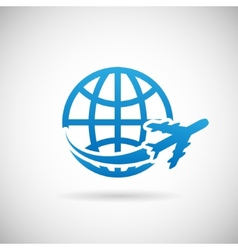 World travel symbol airplane and globe icon design vector