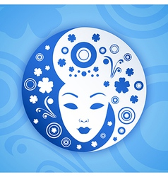 Ying yang symbol with woman face vector