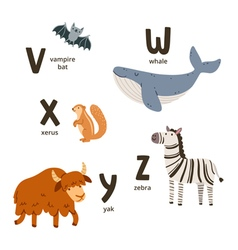 Animal alphabet letters v to z vector image