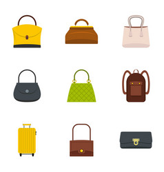 bag types icon set flat style vector image vector image