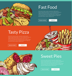 banners with fastfood burgers ice cream vector image