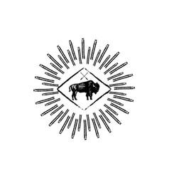 bison retro logo icon vector image vector image