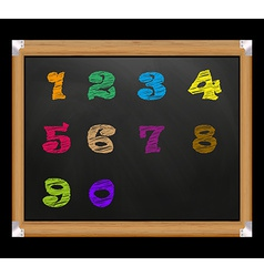 Chalk font on the school board Digits from 1 to 0 vector image