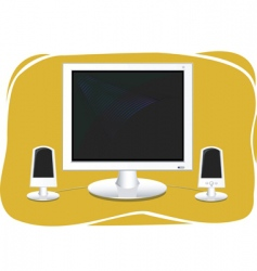 Flat screen computer vector