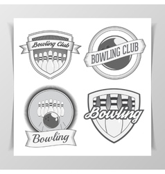 Set of Bowling graphic Labels vector image vector image
