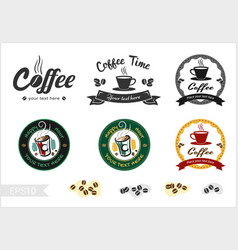 set of retro coffee badge label logo design vector image vector image