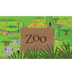 zoo animals map sign board wood nature vector image