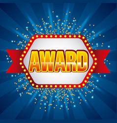 award banner ribbon shining blue background vector image
