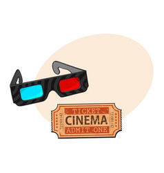 blue-red stereoscopic 3d glasses and cinema vector image vector image