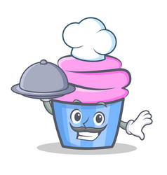 chef cupcake character cartoon style with food vector image