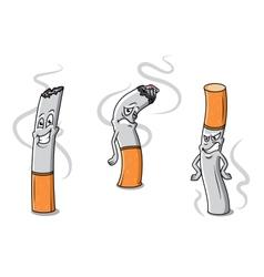 Cute cartoon cigarettes characters vector image
