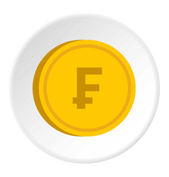 Gold coin with franc sign icon circle vector