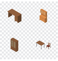 isometric furniture set of cabinet chair vector image