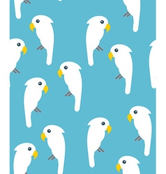 White cockatoo birds seamless pattern on blue vector image