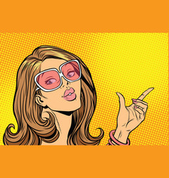 beautiful woman in sunglasses hold hand gesture vector image vector image
