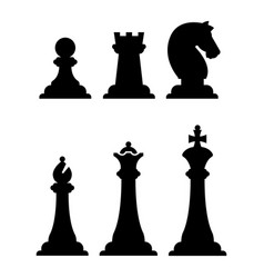 black chess figures silhouettes isolated on white vector image