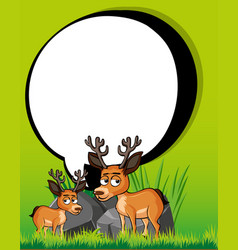 border template with two deers vector image