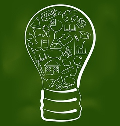 Concept of bulb with set school icons vector image