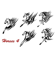 Galloping horses icons or tattoos vector image vector image