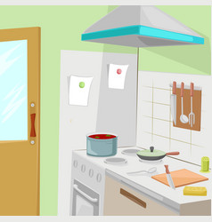 kitchen with furniture cozy kitchen interior vector image vector image