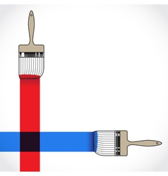 Paintbrush crossing over another brush in painting vector image vector image