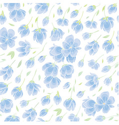 seamless background pattern - blue sakura blossom vector image vector image