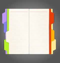 Background of opened diary on a table vector image