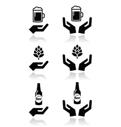 Beer bottle and glass hops with hands icons set vector image