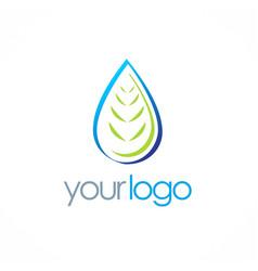 bio organic water drop logo vector image