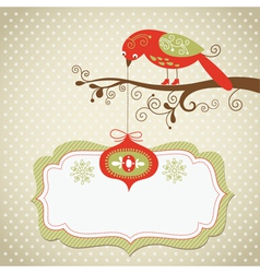 Christmas card with cute bird and hanging toy vector image vector image