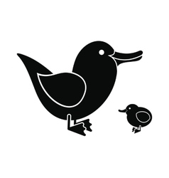 Ducklings black icon vector image vector image