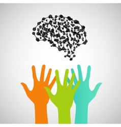 Hands reaching for the brain design vector image