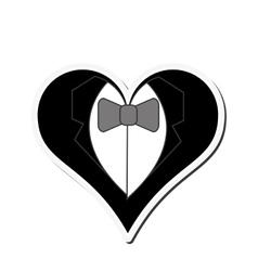 happy groom heart icon vector image