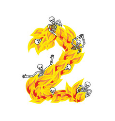 Number 2 hellish flames and sinners font fiery vector
