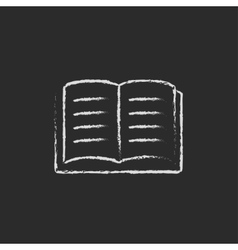 Open book icon drawn in chalk vector image