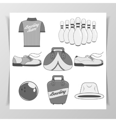 Set of Bowling vintage Design Elements vector image