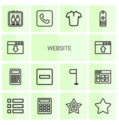 14 website icons vector image