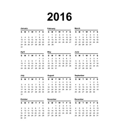 2016 Calendar Black text on a white background vector image