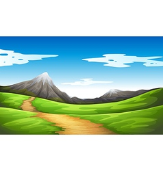 A pathway going to the mountain vector