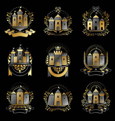 ancient bastions emblems set heraldic design vector image