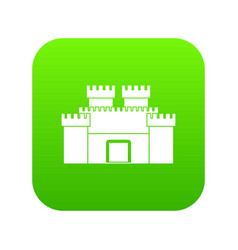 Ancient fortress icon digital green vector