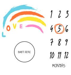 Baby milestone blanket background love rainbow vector