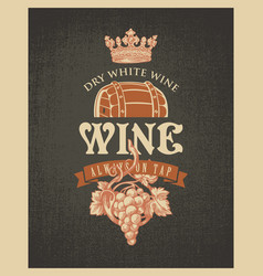 Banner on a wine theme with barrel and grapes vector
