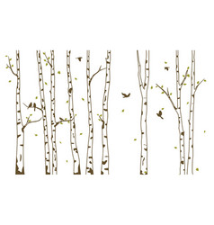 Birch tree with deer and birds silhouette vector