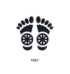Black feet isolated icon simple element from vector