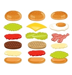 Burger Ingredients Set on White Background vector
