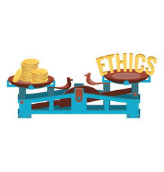Business ethics and heavy gold coins on scales vector