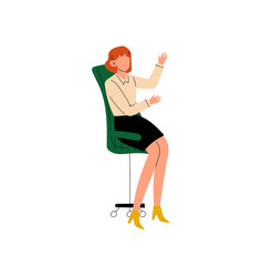 businesswoman sitting in office chair secretary vector image