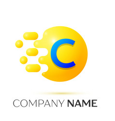 C letter splash yellow dots and circle bubble vector