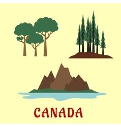 Canadian nature and landscape flat icons vector